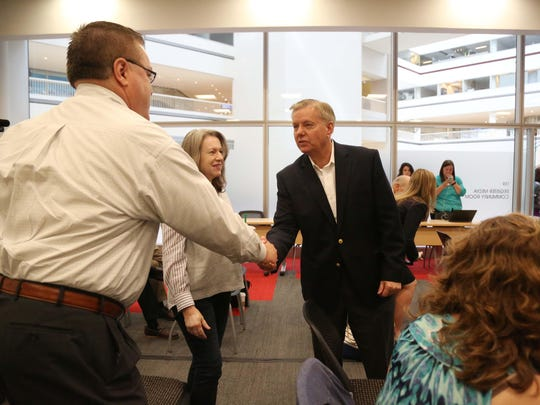 Presidential hopeful and South Carolina senator, Lindsey Graham meets with the Des Moines Register Editorial Board on Wednesday in Capital Square.