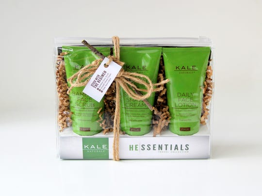 A three-pack of skin care products for men by Kale Naturals does not offer products with kale, but the owner, Dana Kale, hopes to jump on that bandwagon soon.