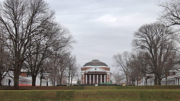 The University of Virginia campus is seen on December