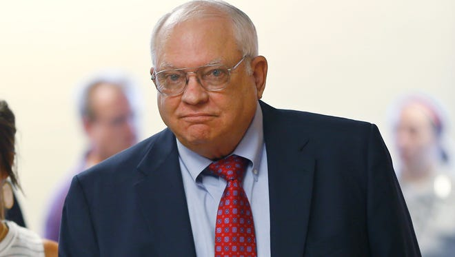 In this July 13, 2015, file photo, Robert Bates arrives for his arraignment in Tulsa, Okla.