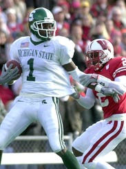 MSU's Charles Rogers (1) breaks away from a Wisconsin