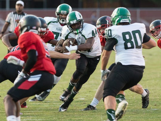 Parkside's Nayel Oge (44) carries the ball during a game against James M. Bennett on Friday, Oct. 6, 2017.