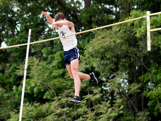 Tyler Hrbek of NV/Old Tappan clearing the bar as he set the Bergen County pole vault record at 15-5 at the Bergen County Meet of Champs on Friday, May 19, 2018.