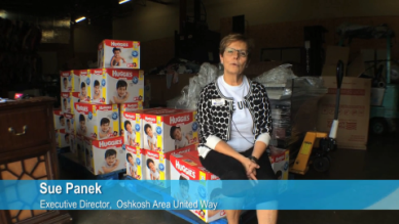 Oshkosh families in need get clean diapers during Dollars for Diapers drive.