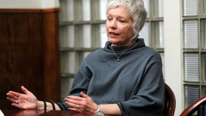State Rep. Susan Fisher speaks about working with members of the state's Republican majority during a January interview at the Citizen-Times in downtown Asheville.