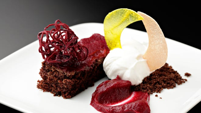 The chocolate beet cake with raspberry beet sauce and chocolate crumble from Top Home Chef candidate Alison Tedor in Phoenix, April, 2, 2015.