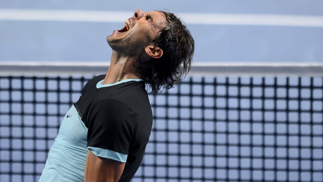 Spain's Rafael Nadal celebrates his victory during his quarter-final match Croatia's Marin Cilic at the Swiss Indoors tennis tournament.