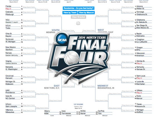 2014 NCAA Tournament logo and bracket