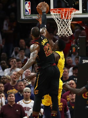 LeBron James #23 of the Cleveland Cavaliers blocks the shot of Victor Oladipo #4 of the Indiana Pacers late Game Five of the Eastern Conference Quarterfinals during the 2018 NBA Playoffs at Quicken Loans Arena on April 25, 2018 in Cleveland, Ohio. NOTE TO USER: User expressly acknowledges and agrees that, by downloading and or using this photograph, User is consenting to the terms and conditions of the Getty Images License Agreement. Cleveland won the game 98-95 to take a 3-2 series lead. (Photo by Gregory Shamus/Getty Images) ORG XMIT: 775153282 ORIG FILE ID: 951302578