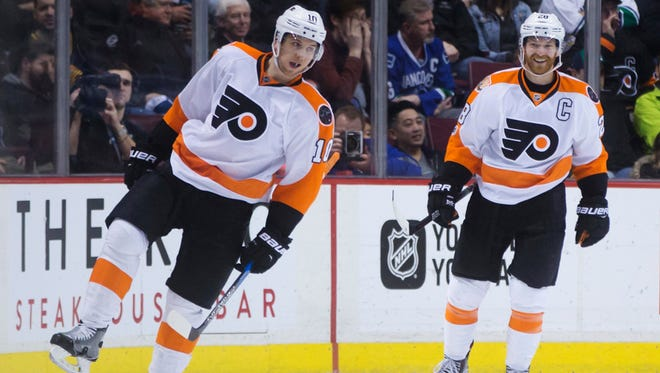 Brayden Schenn, left, leads the NHL with 14 power-play goals.