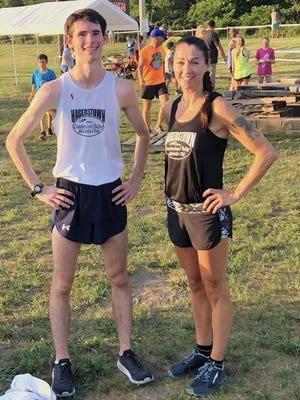 Hagerstown's Ryan Rasco and Jana Fridrichova set the course on fire during the second race of the Ausherman XC Series, held at SpringRise Landscape Development in Chambersburg. Rasco, 17, clocked a 10:23.3 to set a course record for the two-mile race, while Fridrichova was the top female in 12:17.6.