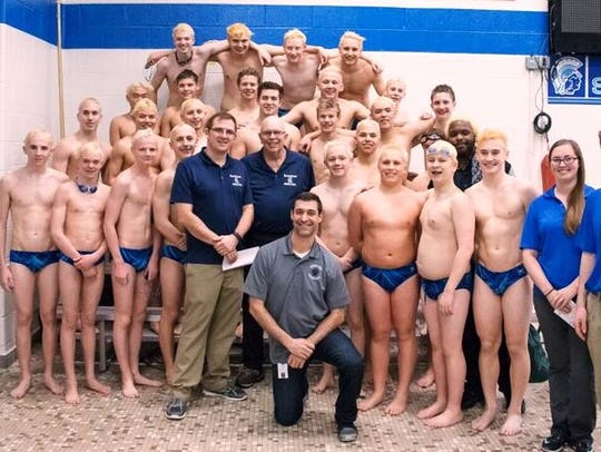The South Lyon Unified boys swimming and diving team