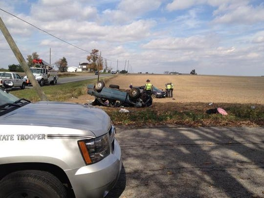 The scene of a collision at Ohio 4 and Brokensword