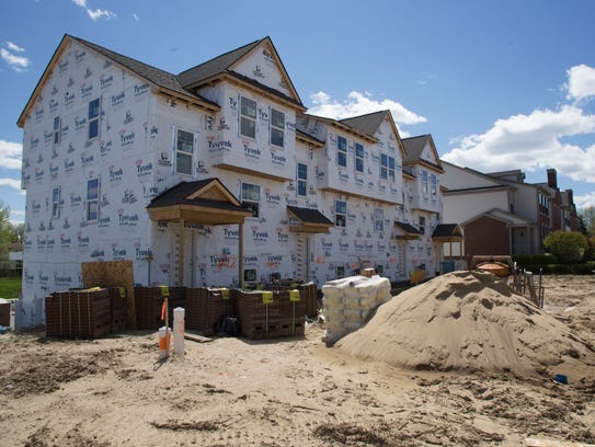 New townhouses under construction in Wixom, Michigan