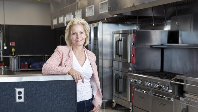 Shannon Bowman photographed in the Bentos Catering kitchen on Tuesday, July 28, 2020.