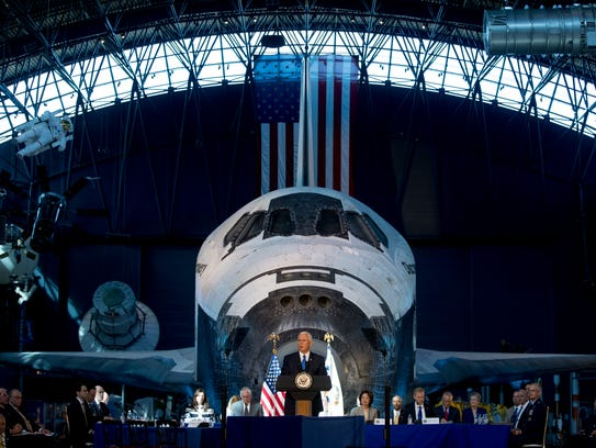 Vice President Mike Pence speaks in front of NASA's