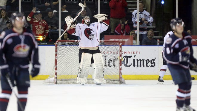 IceRays' Tomas Vomacka celebrates after defeating Topeka  2-0 on Friday, Feb. 17, 2017, at the American Bank Center in Corpus Christi
