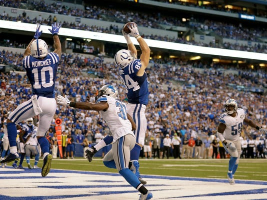 Indianapolis Colts tight end Jack Doyle (84) makes a catch in the end zone for a touchdown against the Detroit Lions during the second half of an NFL football game in Indianapolis, Sunday, Sept. 11, 2016. The Lions defeated the Colts 39-35. (AP Photo/Jeff Roberson)