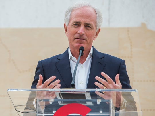 United States Senator Bob Corker speaks during the Google data center groundbreaking in Clarksville on February 16, 2018.