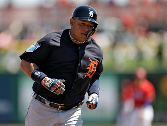 Tigers first baseman Miguel Cabrera runs around the