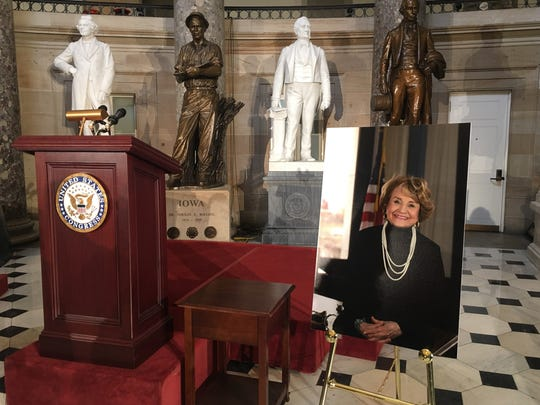 The dias and a portrait of Louise Slaughter in Statuary Hall prior to Wednesday's memorial service on Capitol Hill.