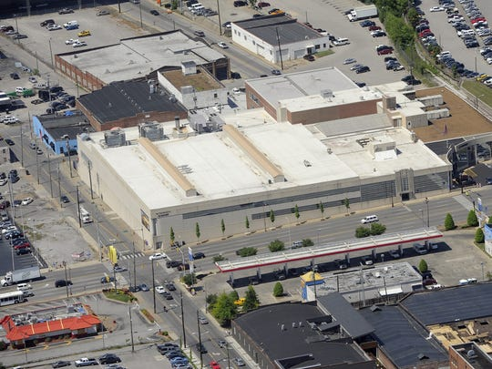 Aerial of The Tennessean building at 1100 Broadway in downtown Nashville.