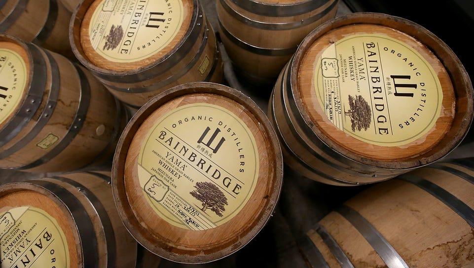 Barrels of Yama whiskey at Bainbridge Organic Distillers.