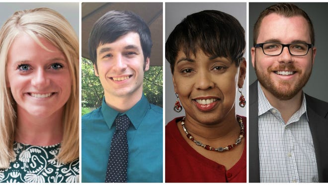 Meet the Love Lansing team, including Kelsey Pence, Alex Alusheff, Vickki Dozier and Matt Hund, during an event on July 11.