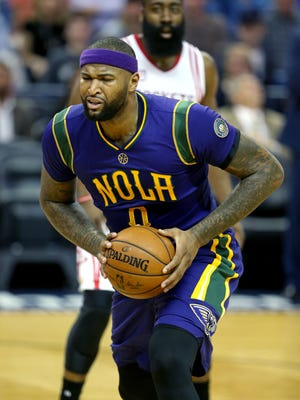 New Orleans Pelicans forward DeMarcus Cousins (0) reacts in the first quarter against the Houston Rockets at the Smoothie King Center.
