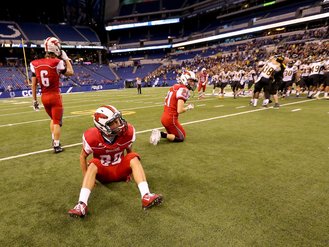 The New Palestine Dragons face off against the Fort Wayne Snider Panthers in the Class 5A IHSAA Football State Tournament finals presented by the Indianapolis Colts at Lucas Oil Stadium on Nov. 27, 2015.