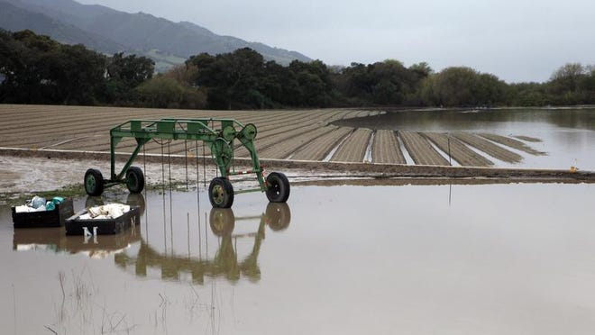 Valuable farmland under flood water along River Road between Salinas and Gonzales in 2011.