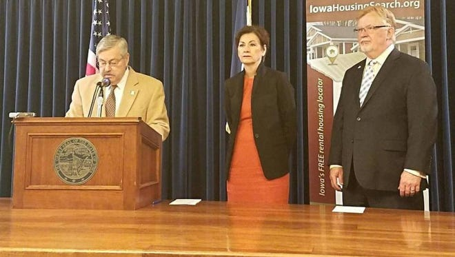 Then Gov. Terry Branstad, Lt. Gov. Kim Reynolds and Iowa Finance Authority Director Dave Jamison during and April 10, 2017 press conference.