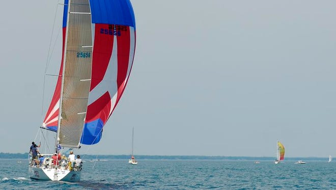 Liberty, of the Port Huron Yacht Club, Saturday, July 12, 2014, during the start of the Mackinac Race.