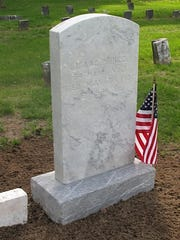 The completed project on Isaac Prince's grave in Burlington.