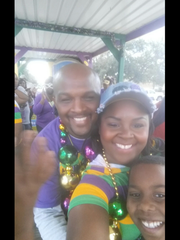 Stephanie and Ottis Alfred get ready to ride in the Carencro parade, 2016.