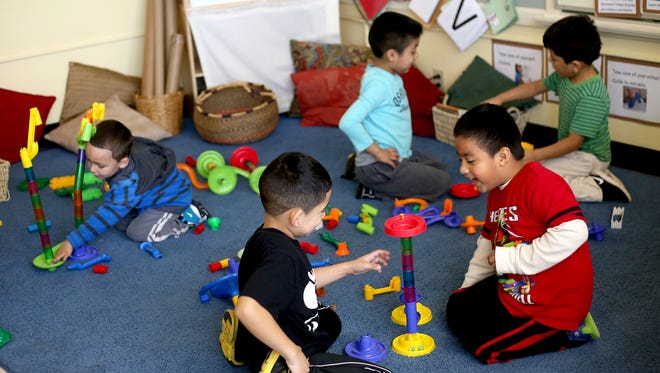 Children play during a free time during a Head Start class at Bethel School near Salem on Wednesday, Feb. 4, 2015.