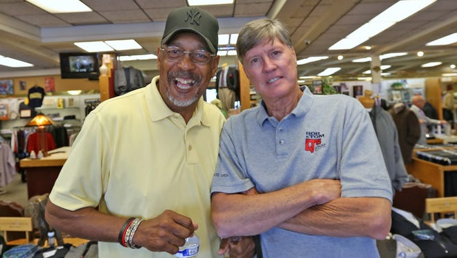 Mel Daniels, left, and Bob Netolicky were together in August to help  former player Charlie Jordan, not pictured, get fitted for a new suit.