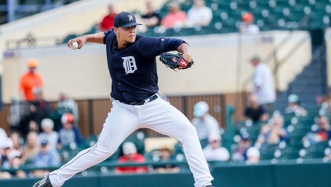 Detroit Tigers' Joe Jiminez pitches during an exhibition game against Florida Southern at Joker Marchant Stadium in Lakeland, Fla. on Monday, Feb. 29, 2016.