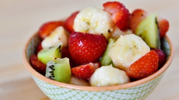 This strawberry-kiwi-banana fruit salad is made with strawberries from a CSA share from Prescott's Patch.