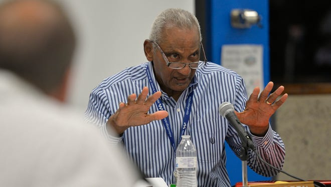 St. Cloud school board chair Les Green speaks as the board discusses its approach to asking for a new levy Thursday, June 30, during a board session at Apollo High School.