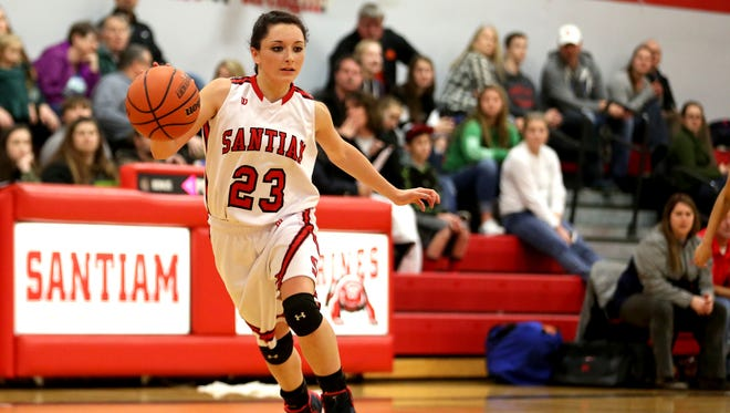Santiam's Shyanne Ward (23) dribbles the ball in the Kennedy vs. Santiam girl's basketball game at Santiam High School in Mill City on Tuesday, Dec. 20, 2016. Kennedy won the game 44-34.