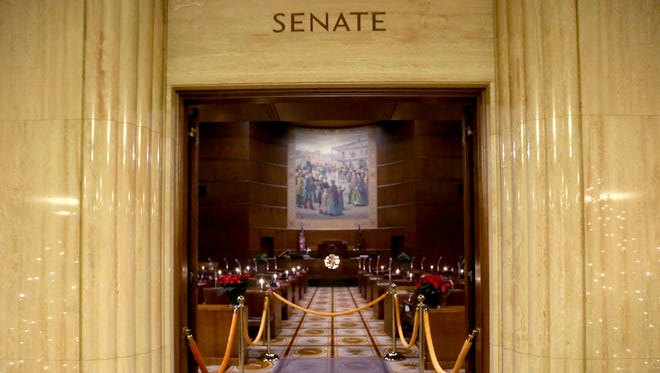 The Oregon state senate floor at the Oregon State Capitol. Photographed in Salem on Monday, Nov. 30, 2015.