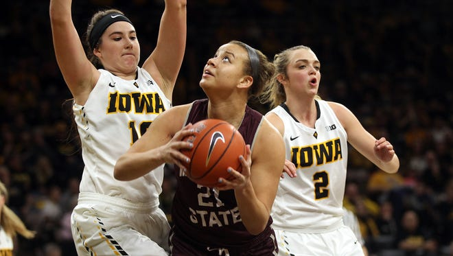 Missouri State's Aubrey Buckley drives to the hoop during the Lady Bears' WNIT first round game against Iowa at Carver-Hawkeye Arena on Thursday, March 16, 2017.