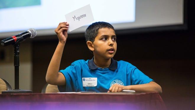 Aditya Narayanan won the Arizona Geographic Bee on March 31, 2017, on the Arizona State University campus in Tempe.