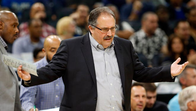 Apr 12, 2017; Orlando, FL, USA; Pistons head coach Stan Van Gundy reacts on the sidelines against the Magic during the first quarter at Amway Center.