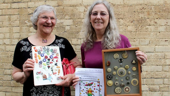 Kay Ferguson, left, and Gayle Wood, with the Oregon State Button Society.