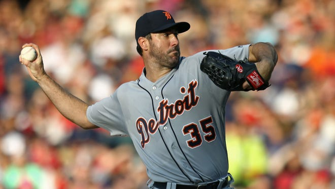 Tigers pitcher Justin Verlander (35) throws in the first inning Saturday in Cleveland.