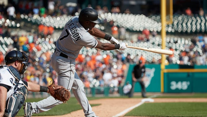 White Sox shortstop Tim Anderson hits a double to right-center with two outs in the ninth inning to break up a no-hitter from Tigers pitcher Matt Boyd at Comerica Park on Sunday, Sept. 17, 2017.
