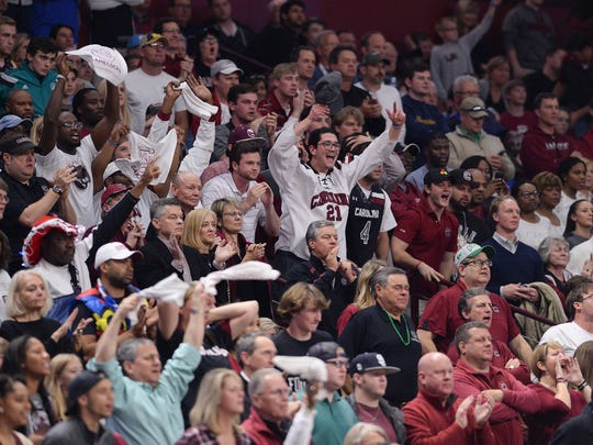 South Carolina fans cheer as the Gamecocks play Marquette during the 1st round of the NCAA Tournament at Bon Secours Wellness Arena in downtown Greenville on Friday, March 17, 2017.
