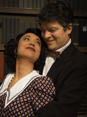 "Alina Gonzalez as Alice Sycamore and Joe Bongiorno as Tony Kirby are shown in a scene from Rhinebeck Theatre Society's ""You Can't Take It With You."""